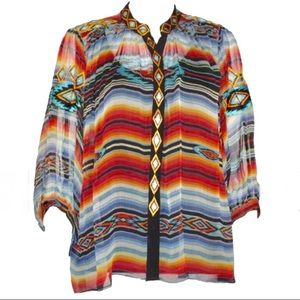 Vintage Collection Embroidered Button Poncho Shirt